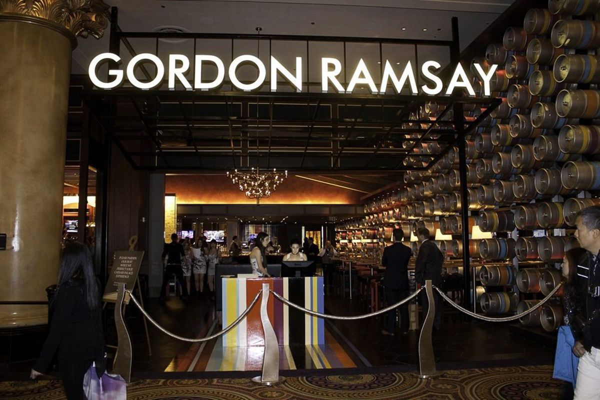 The Carnaby Street striped hostess stand at Gordon Ramsay Pub & Grill.