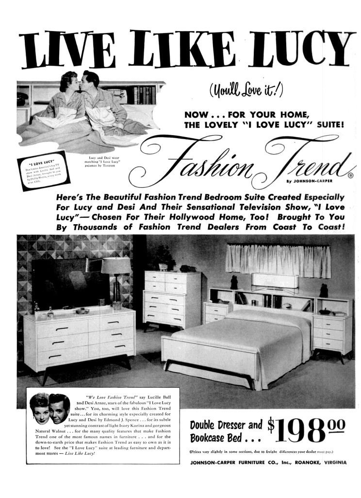 A magazine advertisement from 1953 that reads Live Like Lucy. There are two images: one is of the characters of Lucy and Desi from the TV show I Love Lucy. The other image is of a bedroom set.