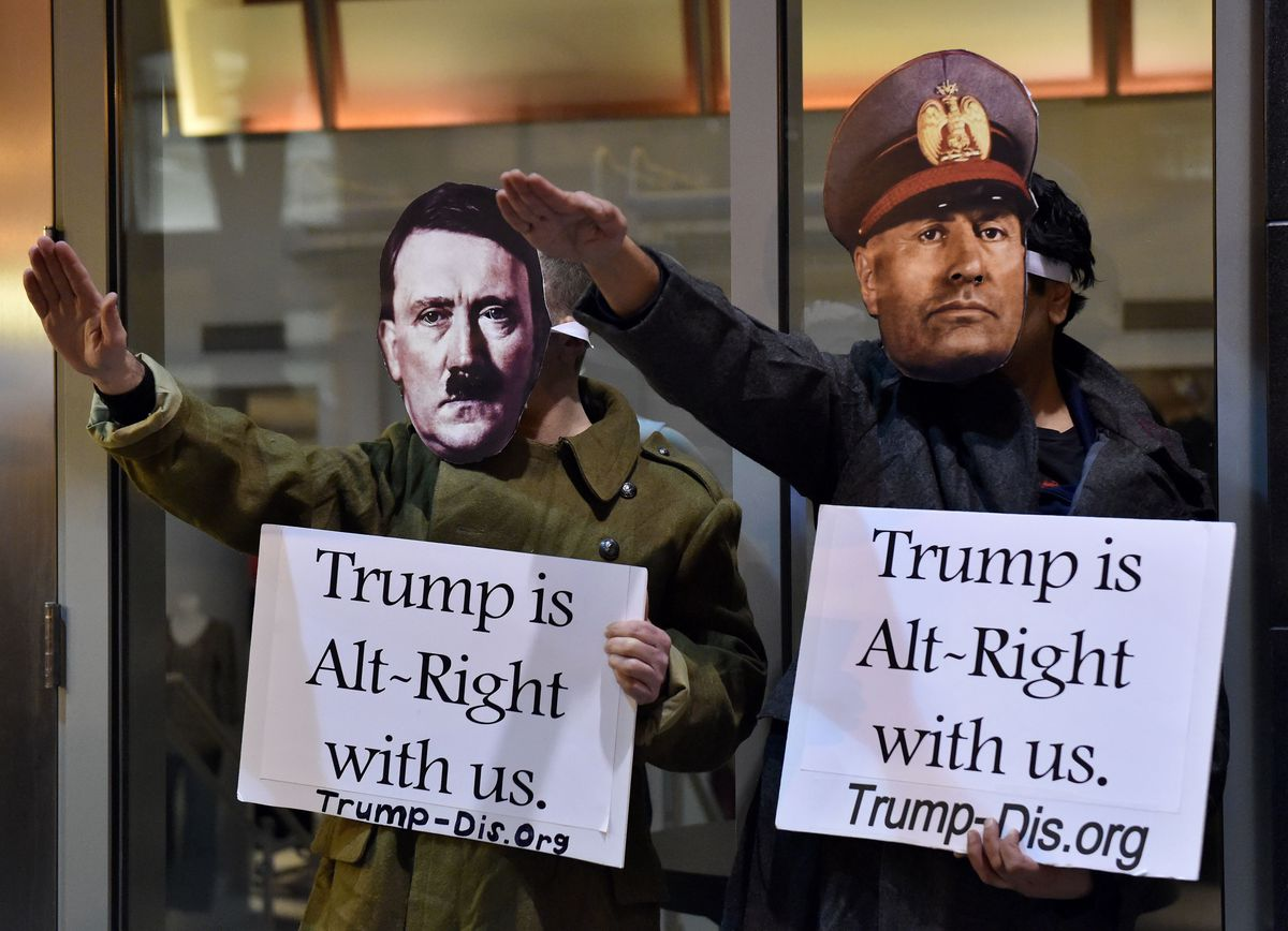 Protesters outside the DeploraBall at the National Press Club (GettyImages)