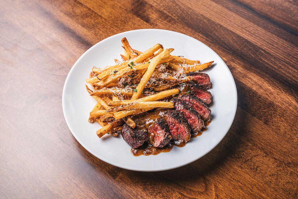 Steak frites with lemon peppercorn sauce from the Freshman