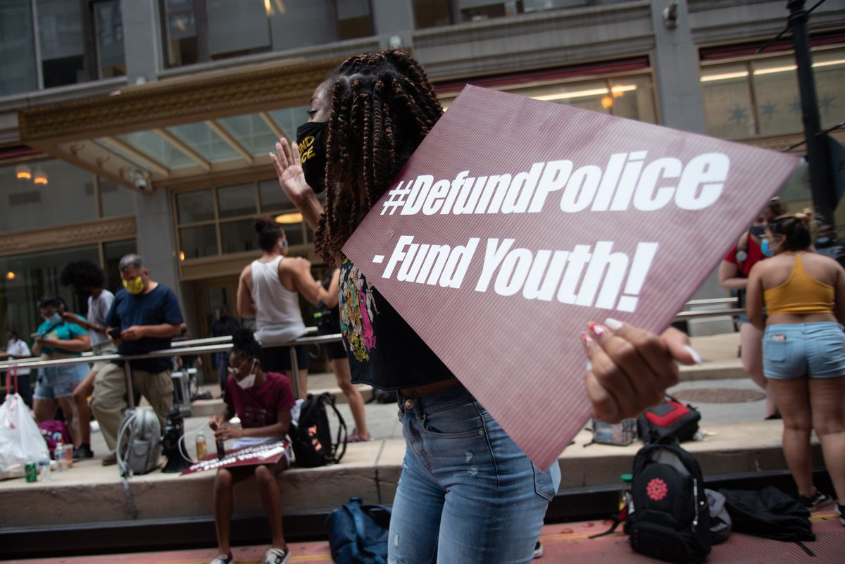 Dream Jordan, a student at Lindblom Math & Science Academy, dances as students demand cops be removed from schools during a protest outside Chicago Public Schools headquarters during a Board of Education meeting in the summer of 2020.