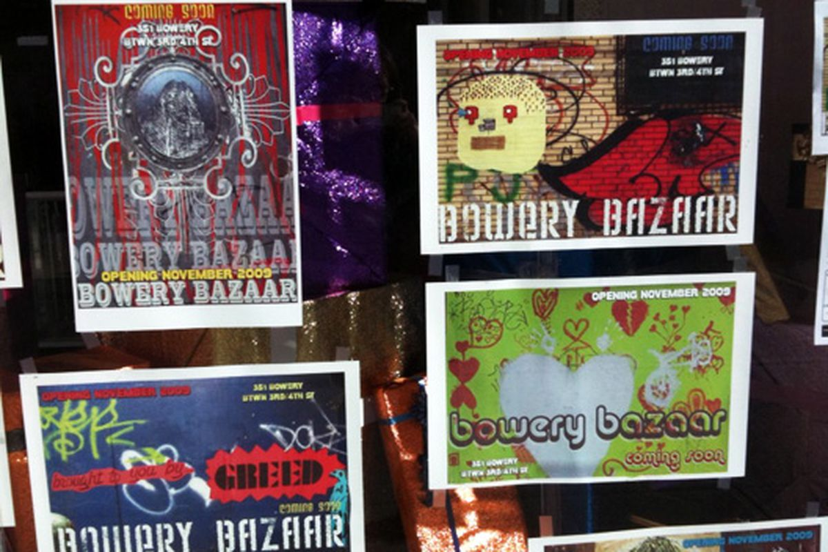 Posters for the flea market coming in on the Bowery