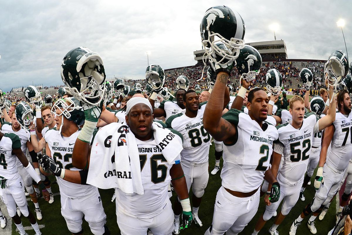 Sep 8, 2012; Mt. Pleasant, MI, USA; Michigan State Spartans players celebrate after defeating the Central Michigan Chippewas 41-7 at Kelly/Shorts Stadium. Mandatory Credit: Andrew Weber-US Presswire