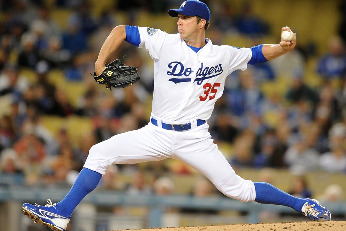 April 12, 2012; Los Angeles, CA, USA;      Los Angeles Dodgers starting pitcher Chris Capuano (35) throws against the Pittsburgh Pirates at Dodger Stadium. Mandatory Credit: Jayne Kamin-Oncea-US PRESSWIRE