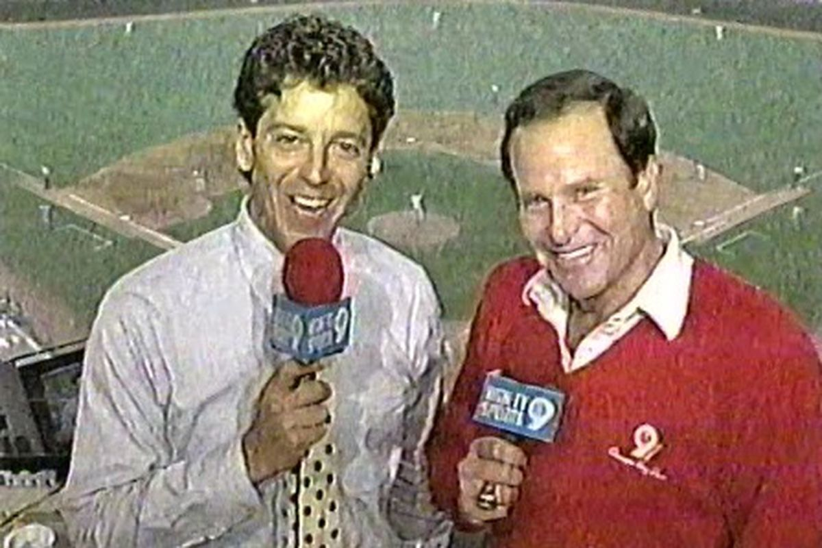 Thom Brennaman and Steve Stone call a Pirates-Cubs game on WGN on Aug. 2, 1993, at Wrigley Field. Brennaman shared the Cubs play-by-play job with Hall of Famer Harry Caray from 1990 to '95.