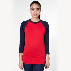 "<b>American Apparel</b> Unisex Poly-Cotton 3/4 Sleeve Raglan Shirt, <a href=""http://store.americanapparel.net/product/?productId=bb453w&c=Red%20/%20Navy"">$28</a>"