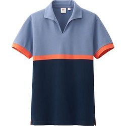 """<strong>Uniqlo x Michael Bastian</strong> Washed Short Sleeve Polo in Blue, <a href=""""http://www.uniqlo.com/us/men/featured/michael-bastian/new-in/men-washed-short-sleeve-polo-shirt-by-mb-129906.html#67"""">$22.90</a>"""