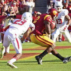 Adoree' Jackson catches an 18-yard touchdown pass.