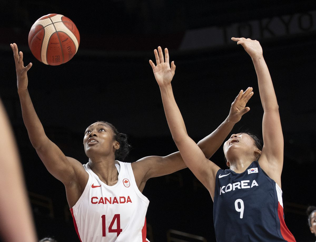 Canada vs Korea in Womens basketball, preliminary round one, Group A,