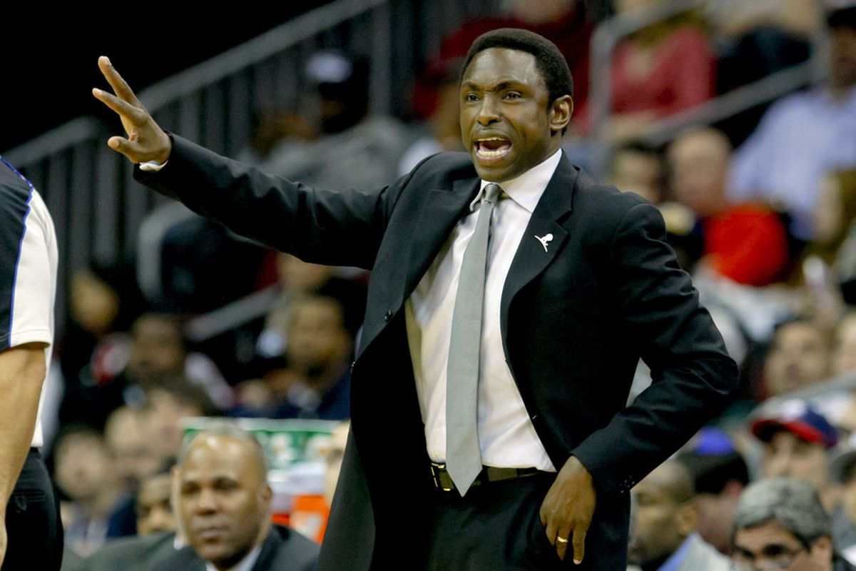 Mar 28, 2012; Newark, NJ, USA;  New Jersey Nets head coach Avery Johnson reacts during the second half against the Indiana Pacers at the Prudential Center. New Jersey Nets defeat the Indiana Pacers 100-84. Mandatory Credit: Jim O'Connor-US PRESSWIRE