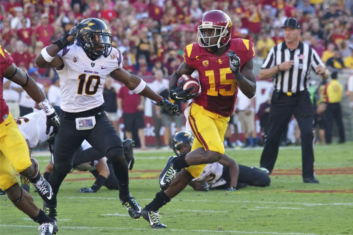Nelson Agholor couldn't avoid an ASU defender on a game-altering play later.