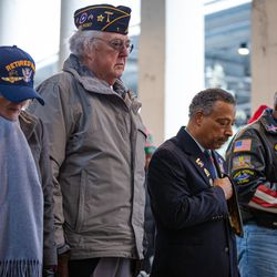 A group of veterans during the invocation on Veteran's Day at Soldier Field on Monday, Nov. 11, 2019.