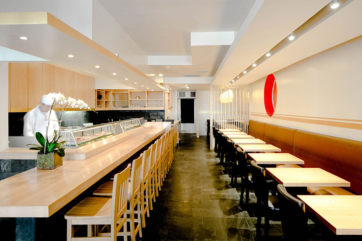 The interior of Sushi Katseui in the West Village