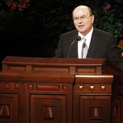 Quentin L. Cook speaks during the 182nd Annual General Conference for The Church of Jesus Christ of Latter-day Saints at the LDS Conference Center in Salt Lake City on Saturday, March 31, 2012.