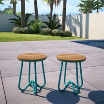 Wooden stool with teal frame