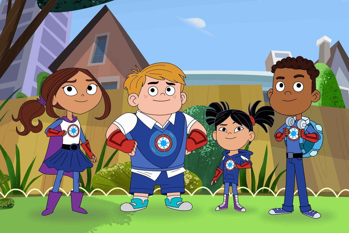 """Characters from the TV series """"Hero Elementary"""" include Lucita Sky (from left), Benny Bubbles, Sara Snap and AJ Gadgets, a superhero who has the ability to make super gadgets — and who also happens to be on the Autism spectrum."""