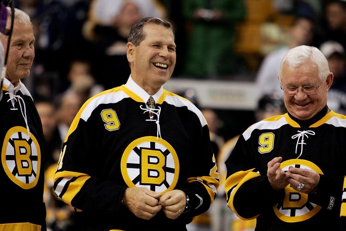 Old friends, good times. Don Marcotte, John McKenzie, Johnny Bucyk