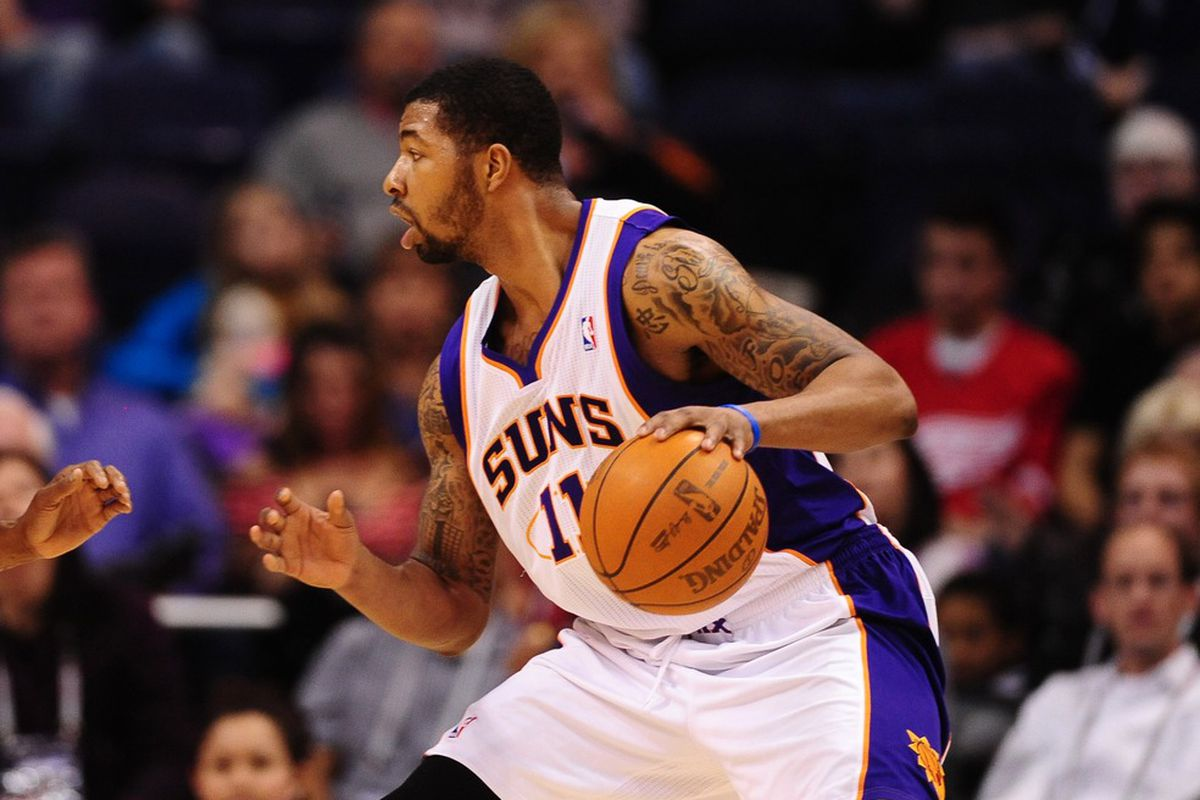 Feb. 20, 2012; Phoenix, AZ, USA; Phoenix Suns forward Markieff Morris during game against the Washington Wizards at the US Airways Center. The Suns defeated the Wizards 104-88. Mandatory Credit: Mark J. Rebilas-US PRESSWIRE
