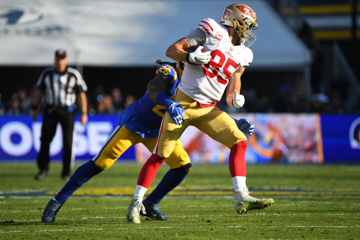 8cee2eae1 The 49ers offense   defense worked together to help George Kittle enter the  record book