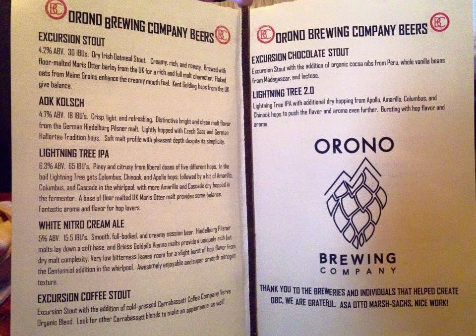 orono brewing tap list