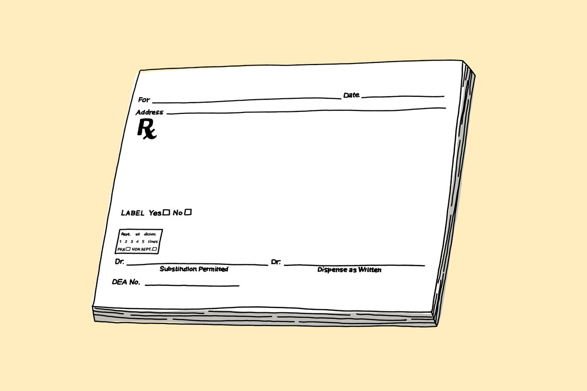 A prescription pad on a yellow background