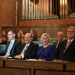 Elder Quentin L. Cook of the Quorum of the Twelve Apostles for The Church of Jesus Christ of Latter-day Saints and his wife, Sister Mary G. Cook, participate in a worldwide devotional for young adults on Sept. 11, 2016. The meeting, which originated in the LDS Church's Washington D.C. Stake Center, was translated and broadcast across the globe.