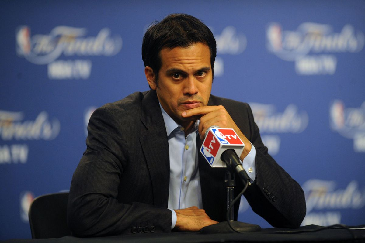 Erik Spoelstra, doing some mean contemplating following last night's game.