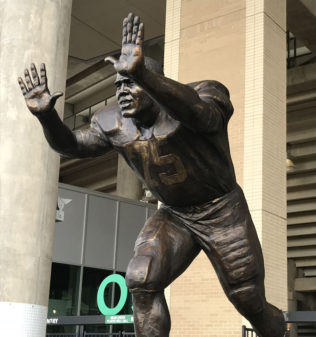 4cf9fbf8c6a ... Greene's playing days at UNT. Here's your first look at the new statue  outside Apogee Stadium.