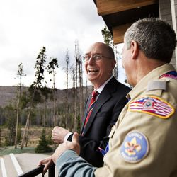 FILE - President Henry B. Eyring, first counselor in the First Presidency of the Church of Jesus Christ of Latter-day Saints, takes a tour of the Thomas S. Monson Lodge at the Hinckley Scout Ranch with Bruce Hough before dedicating the building in the Uinta Mountains on Wednesday, Oct. 5, 2016.