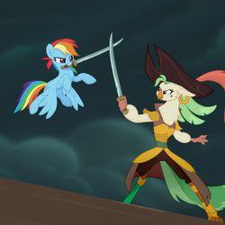 """Rainbow Dash (Ashleigh Ball) and Captain Celaeno (Zoe Saldana) in """"My Little Pony: The Movie."""""""
