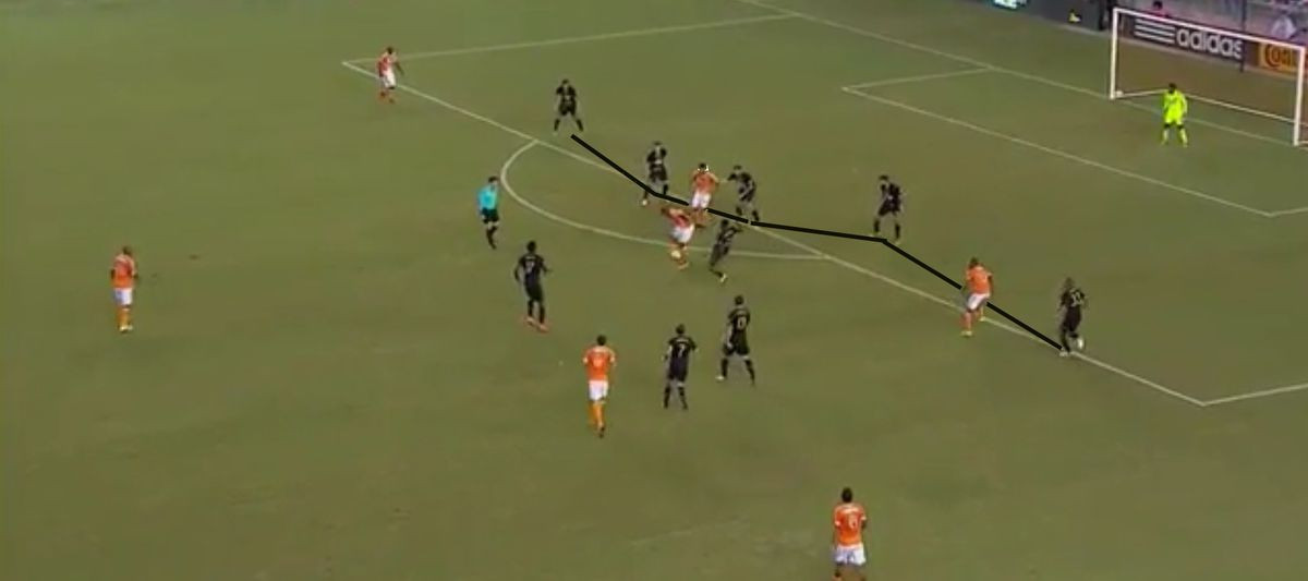 Defensive positioning on Warren Creavalle's foul and yellow card on Boniek Garcia.