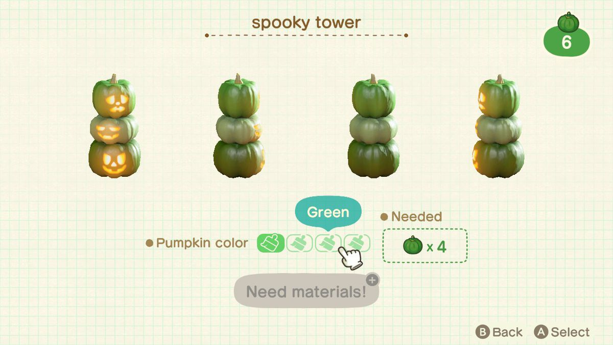 A customization screen in Animal Crossing: New Horizons, showing turning a Spooky Tower green from orange.