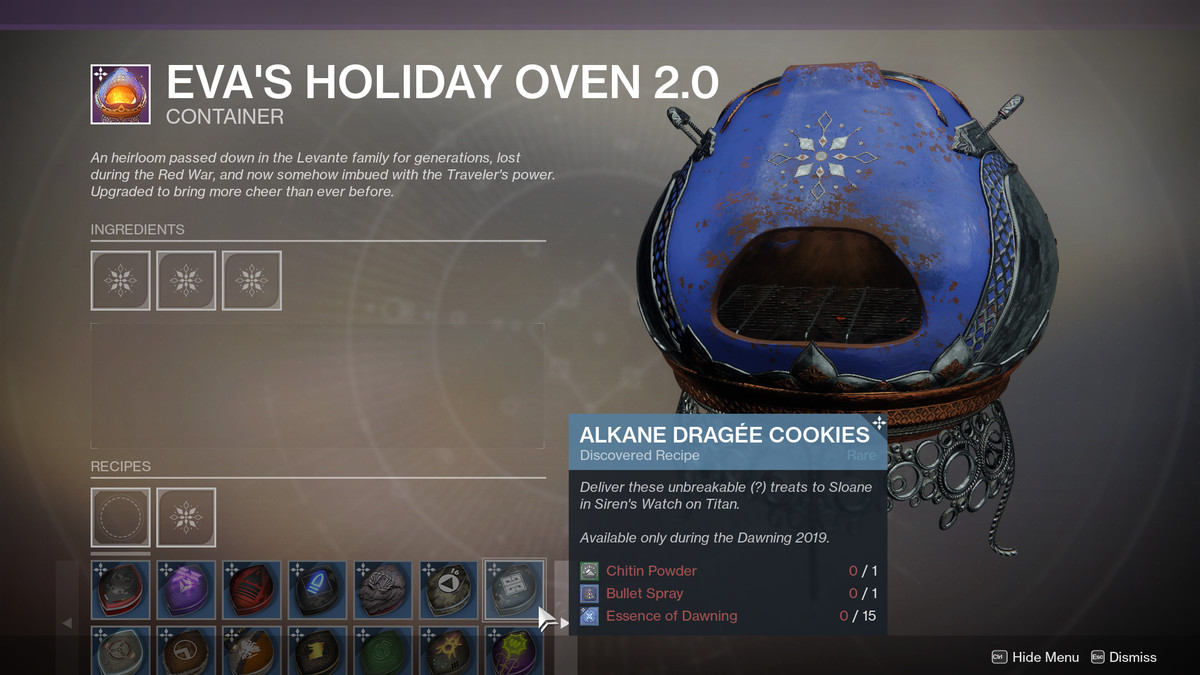 Destiny 2 Dawning 2019 ingredients, gifts, and recipes ...