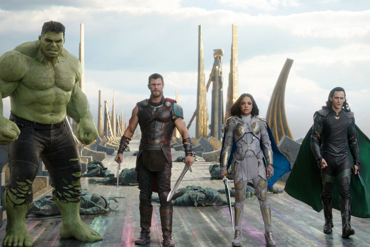 """This image released by Marvel Studios shows the Hulk, from left, Chris Hemsworth as Thor, Tessa Thompson as Valkyrie and Tom Hiddleston as Loki in a scene from """"Thor: Ragnarok."""""""