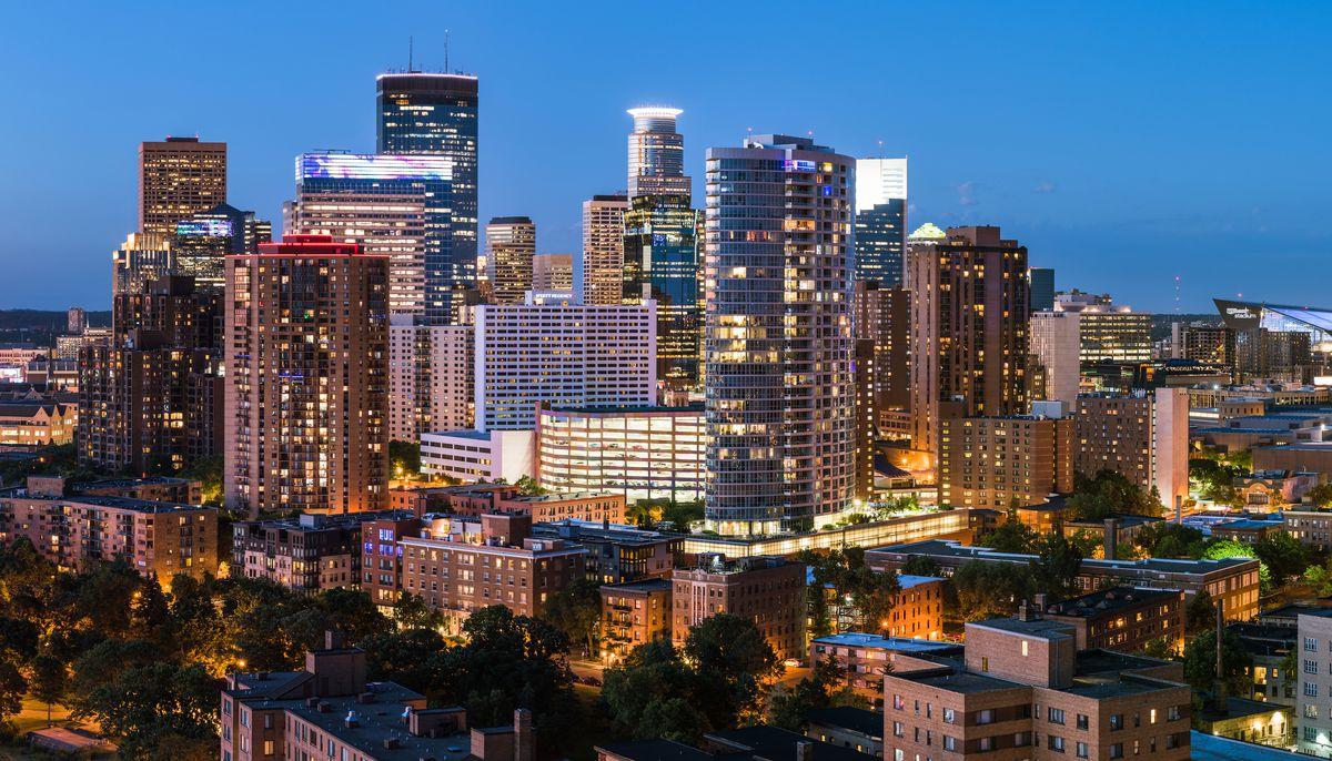 The skyline of Minneapolis, Minnesota at night.