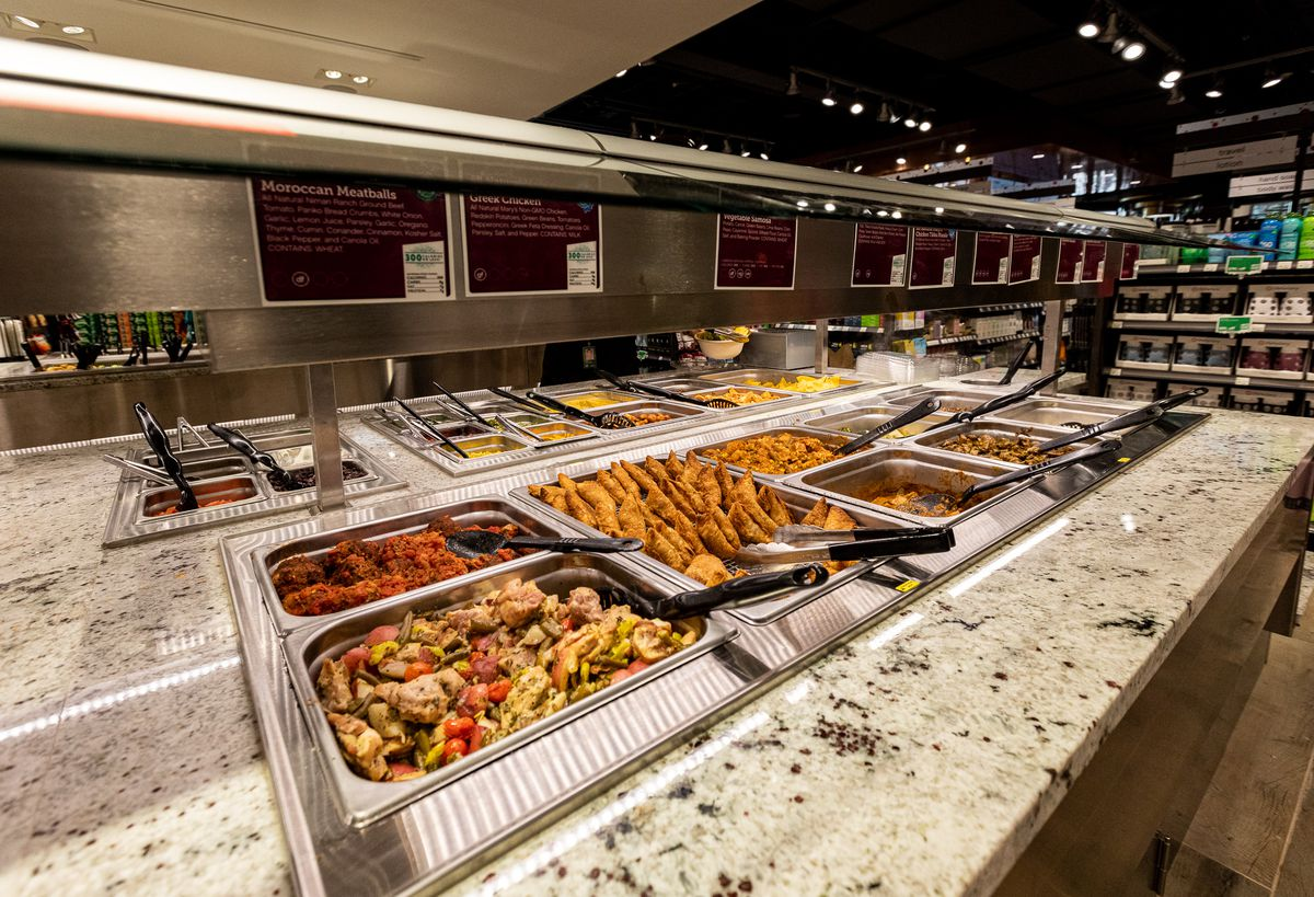 samosas and other Indian-influenced food at the plum market hot bar