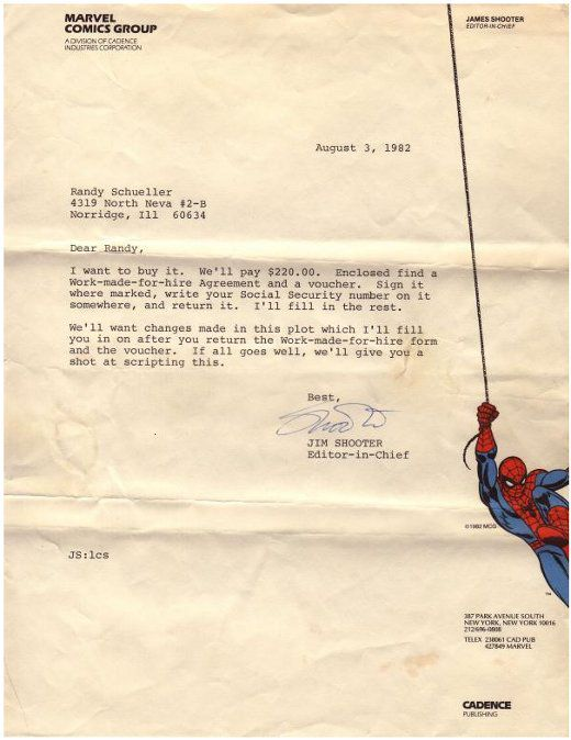 Letter from Marvel Comics Group to Randy Scheuller