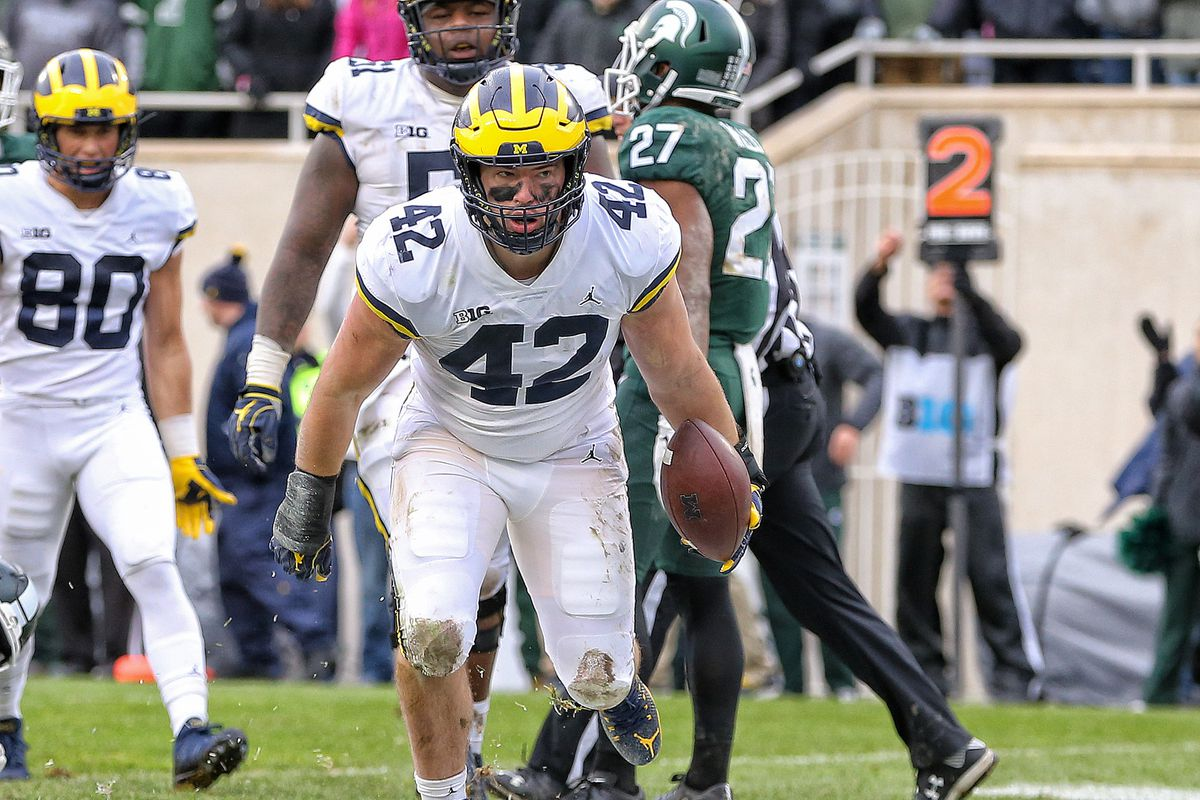 Michigan football players working at different positions in 2019 spring practices