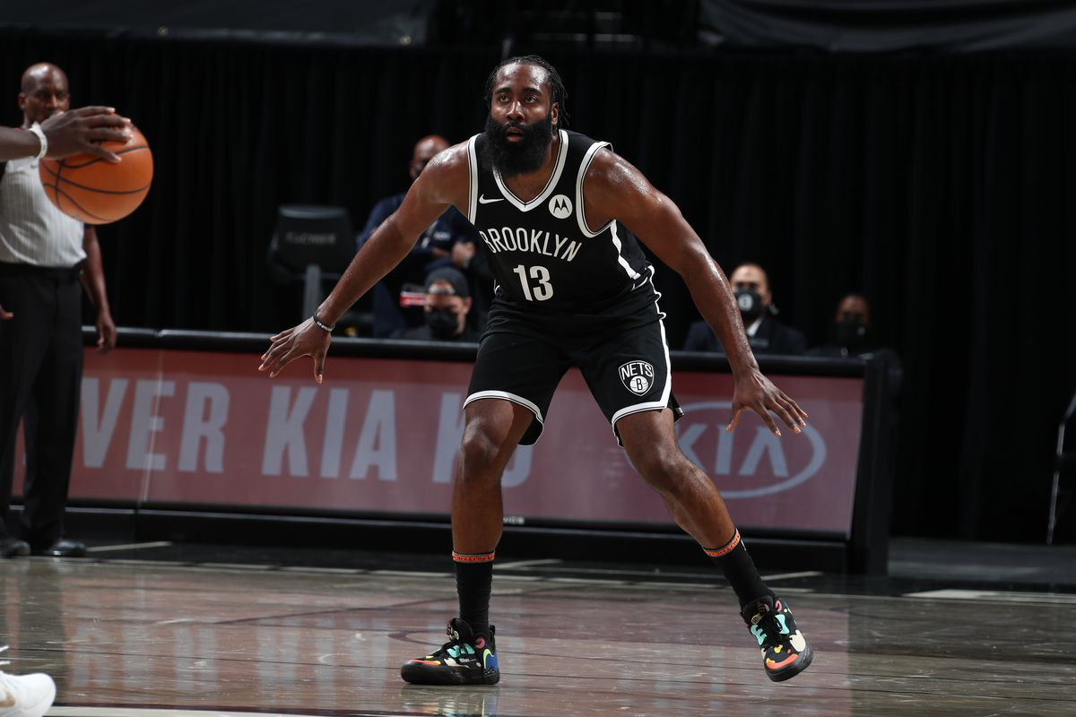 James Harden of the Brooklyn Nets looks on during the game against the Milwaukee Bucks on January 18, 2021 at Barclays Center in Brooklyn, New York.