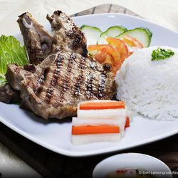 Hong Kong Cafe grilled lemongrass-flavored pork chop with steamed rice