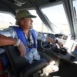 Harbour Master Dave Shearer pilots a boat out of the Great Salt Lake marina on Friday, Sept. 2, 2016. The marina was last dredged in 2008 and needs to be dredged another 5 feet.