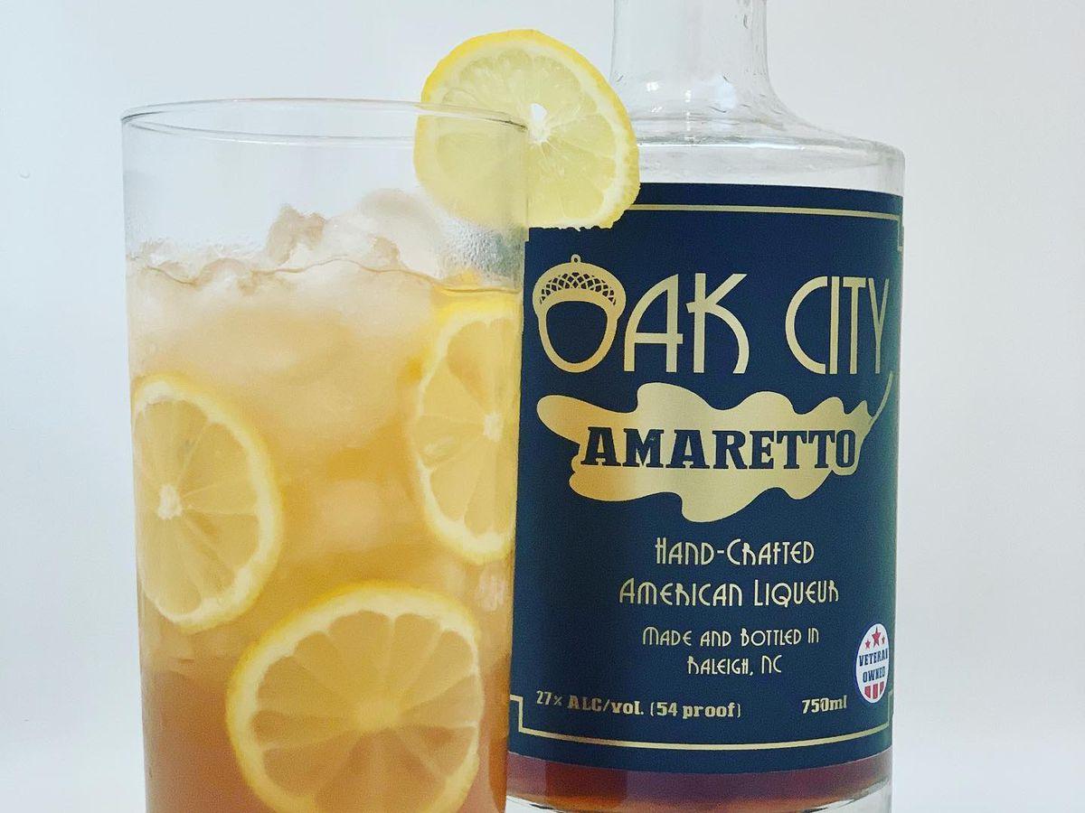 Bottle of Oak City amaretto