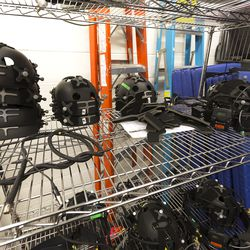 Sets of motion capture gear sit on racks near the studio itself. NetherRealm can accommodate a dozen or more actors in the space at one time.