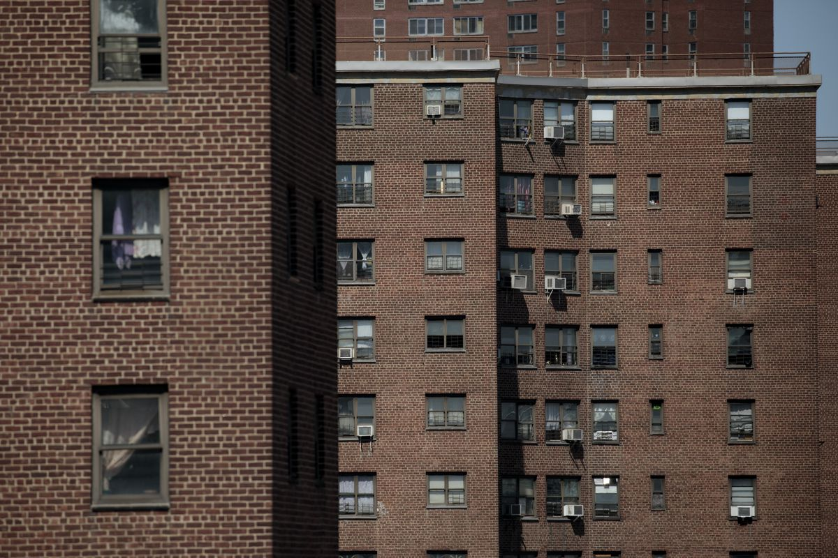 Several NYC housing authority (NYCHA) buildings in Manhattan.