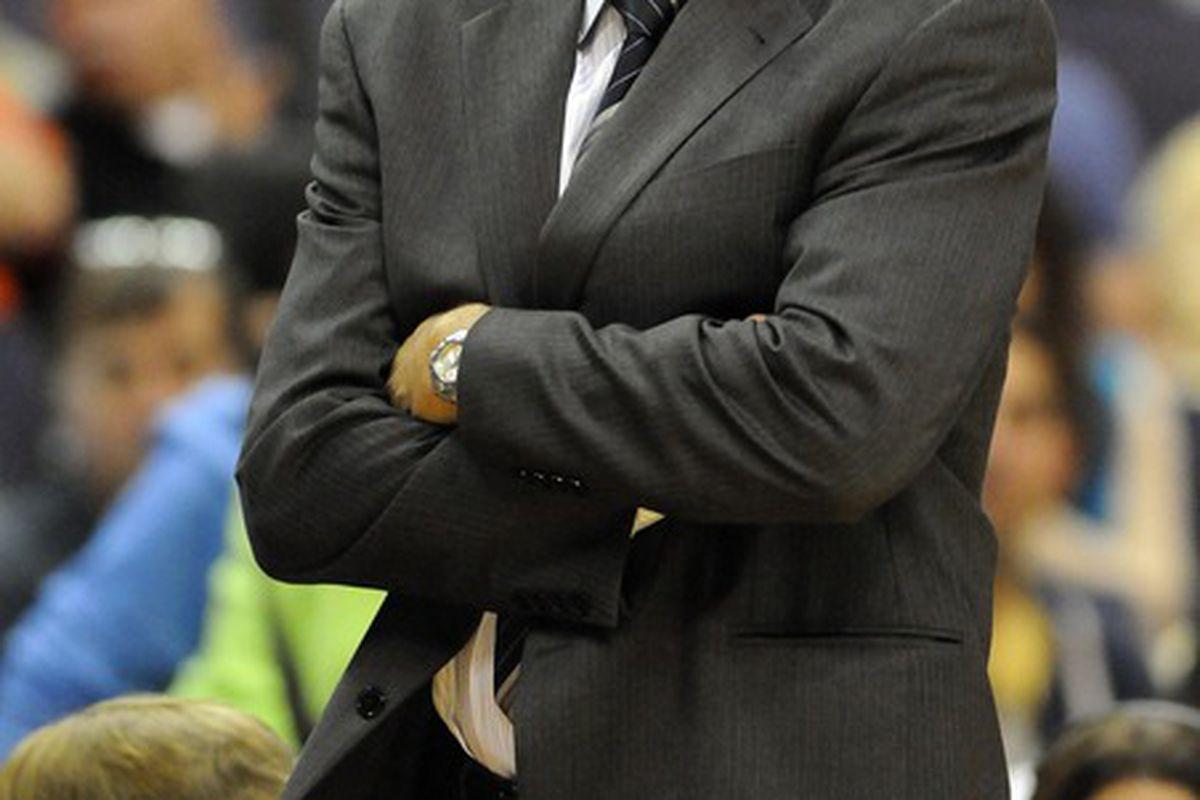 Mar 24, 2012; Washington, DC, USA; Washington Wizards head coach Randy Wittman reacts during the game against the Atlanta Hawks at the Verizon Center. Mandatory Credit: Brad Mills-US PRESSWIRE