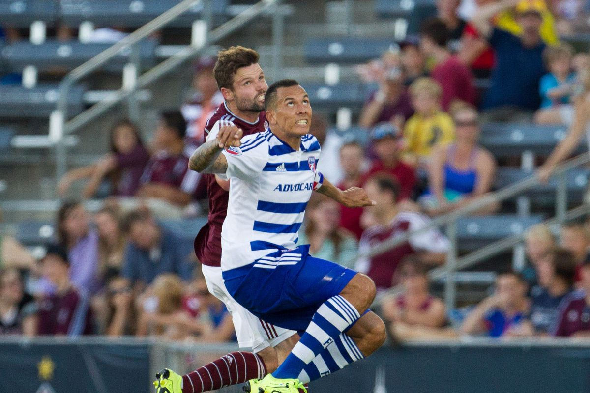 Drew Moor (not Captain Drew Moor) looking to play the ball against FC Dallas.