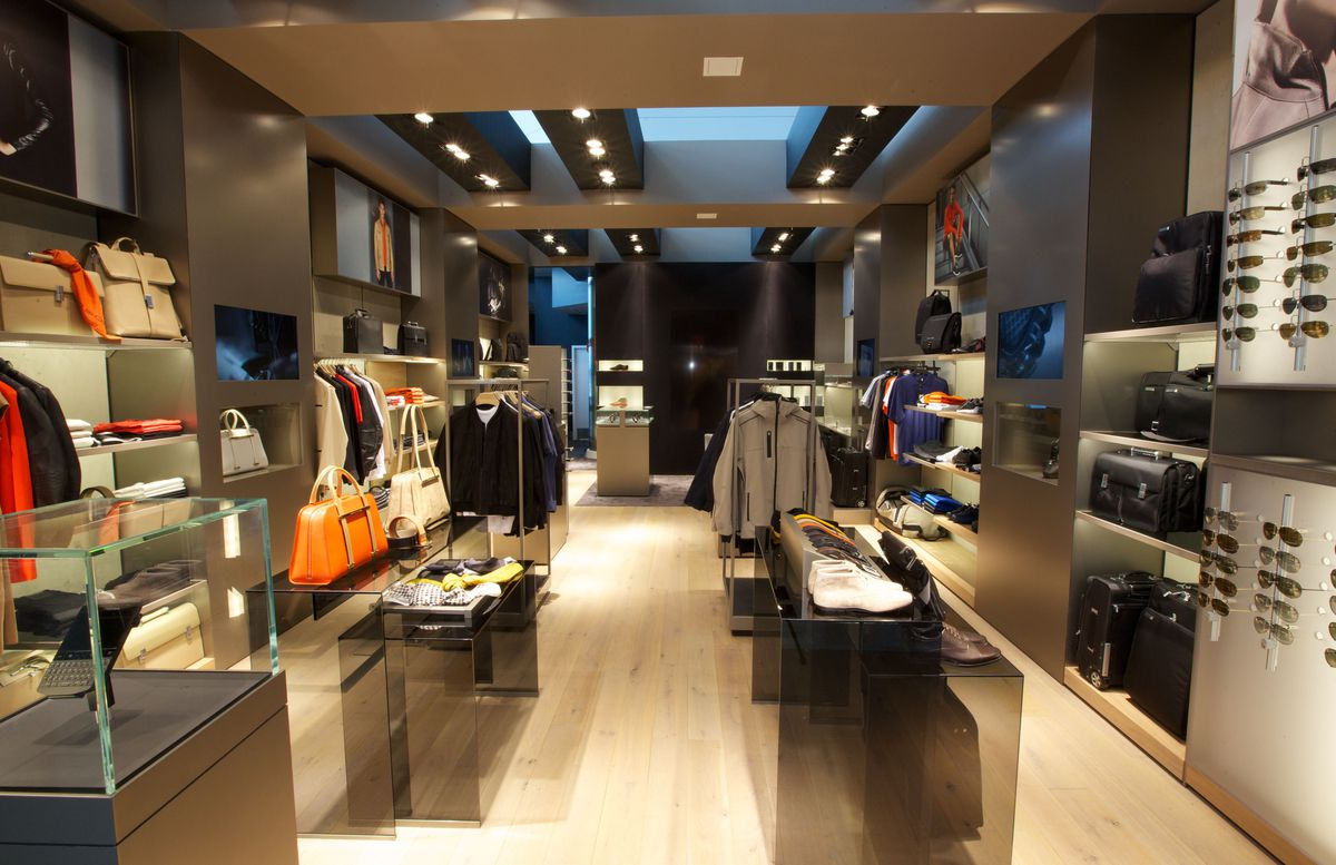 Inside the Porsche Design store, which sells clothes and sleek accessories
