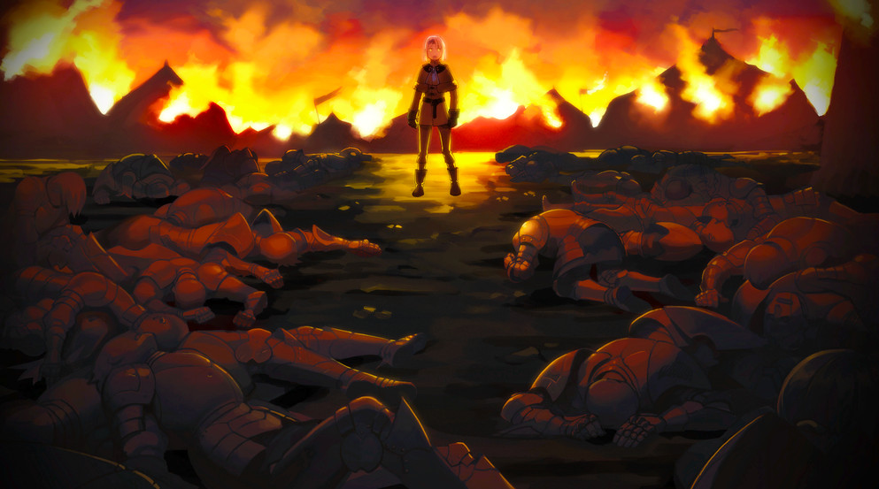 A boy stands before a sea of dead bodies.