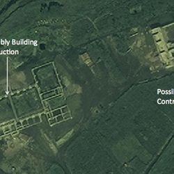 In this satellite image taken Aug. 29, 2012 by DigitalGlobe and provided Monday, Sept. 24, 2012 by 38 North, the website of the U.S.-Korea Institute at Johns Hopkins School of Advanced International Studies, structures which an analyst says a newly commenced construction site of what is probably a new rocket launch control center for the entire Tonghae launch complex and a large, still unfinished rocket assembly building are seen near the village of Musudan-ri on the northeast coast of North Korea. North Korea has stopped construction on the launch pad where intercontinental-range rockets could be tested, an interruption possibly due to heavy rains and that could stall completion up to two years, according to the analysis of Aug. 29 images provided to The Associated Press by 38 North.