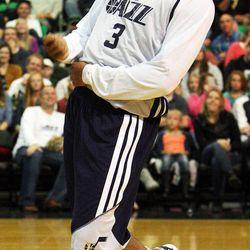 Trey Burke dances before the Utah Jazz's scrimmage in Salt Lake City, Saturday, Oct. 5, 2013.